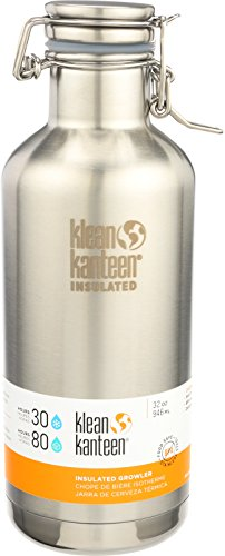 Klean Kanteen Double Wall Vacuum Insulated Stainless Steel Growler with Leak Proof Stainless Steel Swing Lok Cap - 32oz