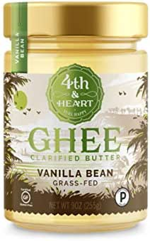 Vanilla Bean Grass-Fed Ghee Butter by 4th & Heart, 9 Ounce, Pasture Raised, Non-GMO, Lactose Free, Certified Paleo, Keto-Friendly