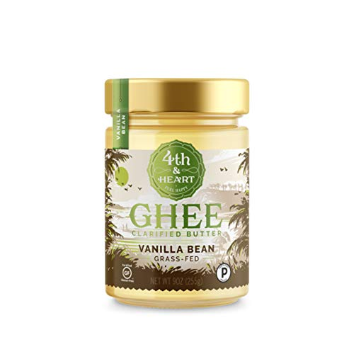 Vanilla Bean Grass-Fed Ghee Butter by 4th & Heart, 9 Ounce, Pasture Raised, Non-GMO, Lactose Free, Certified Paleo, Keto-Friendly ()