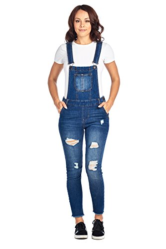Ci Sono Women's Casual Stretch Denim Distressed Ripped Bib Overall Jumpsuit Jumper (Medium, Medium Wash 2)