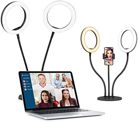 "Dual 8"" Computer Selfie Ring Light for Video Conference Recording,Evershop Desktop LED Circle Light with Tripod Stand Phone Holder for Live Stream/Makeup/YouTube/Tiktok,Webcam iPhone Android Laptop"