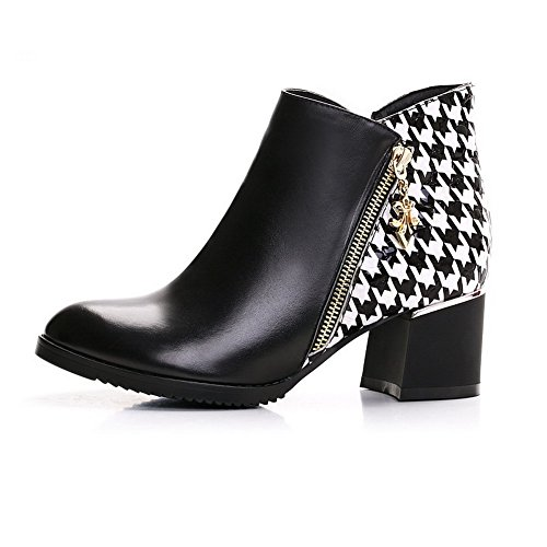 Toe Toe Pointed Women's Blackwhite Boots Kitten Toned with Heels Two Closed AmoonyFashion ZqwfFxCx