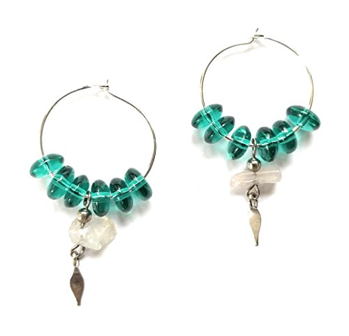 Sea Glass Green Quartz Silver Hoop Earring Bead (Quartz Sterling Silver Hoop)