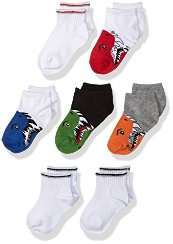 Stride Rite Little Boys' Fun Fashion Quarter Cot-n Blend, Billy Bite Animal, Sock Size 8-9.5/Shoe Size 13-4 (Pack of (Rite Blend)