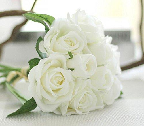 Helen Ou@ 1 Bunch Artificial Bridal Bouquet Great Decoration Silk Flowers Romantic Rose White