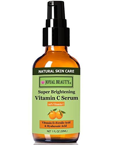 #1 top Rated le meilleur sérum bio vitamine C 20 % pour le visage de beauté Joyal. Avec l'acide hyaluronique 11 % + acide férulique + vitamine E + hamamélis. Meilleur pour Anti-aging/réparation de dommages/peau soleil raffermissant/même-tonique.