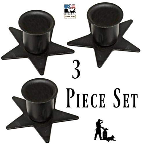 Set of 3 Wrought Iron Star Taper Holders - Perfect for Windowsill - Hand Made by Amish of Lancaster County PA