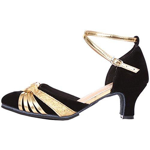 Baile Emplame Correa Mujer con Negro Dorado Latino Zapatos Azbro amp; Cruzada de xt8fXX