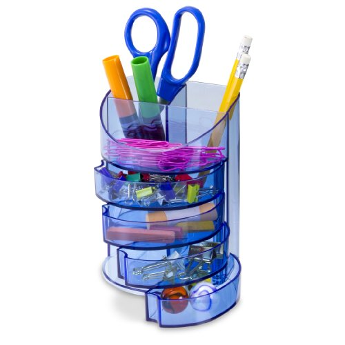 Officemate OIC Blue Glacier Supply Organizer, 7 Compartments, Transparent Blue (23222)
