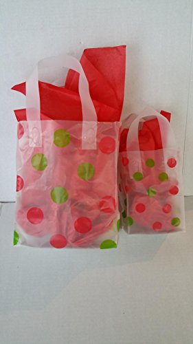 20 Red and Green Polka Dot Gift Party Favor Bags Soft Loop Handles Tissue Bundle Includes: 10 Medium,10 Small and 24 Sheets RED Filler Paper.