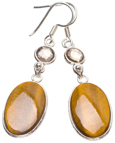 StarGems(tm) Natural Tiger Eye and Smoky Quartz Handmade Indian 925 Sterling Silver Earrings 2