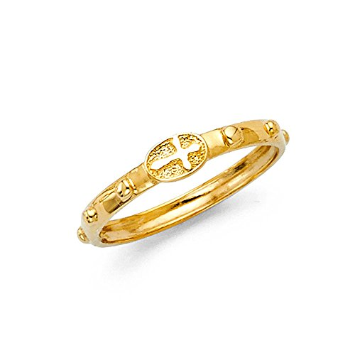 Pure 14k Gold Yellow Cross Rosary Ring Beaded Eternity Christian Size 6