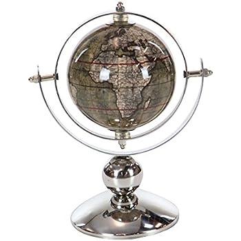 Deco 79 43488 Polished Silver Decorative Globe, 9