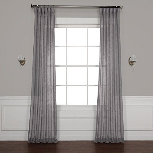 Half Price Drapes Shch-SS071617-96 Solid Faux Linen Sheer Curtain, 50 X 96, Gravel Grey