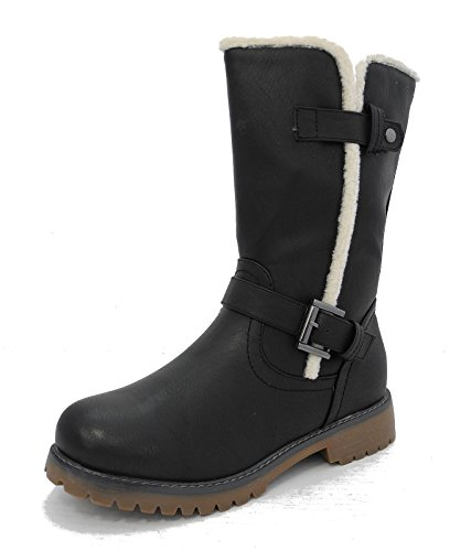 Cipriata Womens Ladies Leather Look Mid Calf Fur Winter Boots Black Brown Size 3 4 5 6 7 8 Black