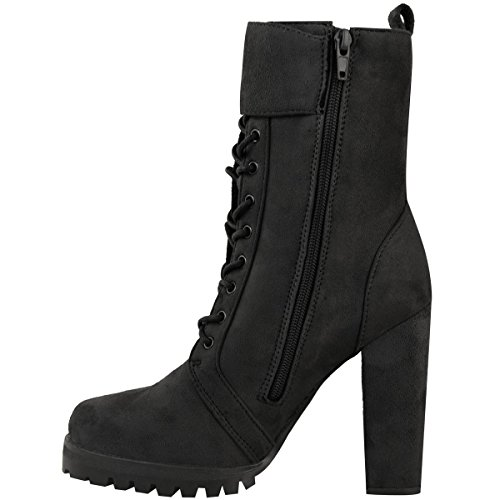 Fashion Thirsty New Womens Ladies Lace Up Ankle Boots Chunky Casual Combat Grip Sole Biker Shoes Black Faux Suede OuMJIW97wH