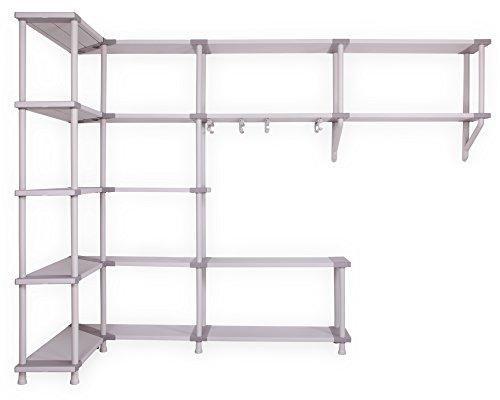 Modulares Regalsystem für die Ecke Freedom zur Wandmontage, Schwerlastregale mit Ecklösung und Kleiderstangen