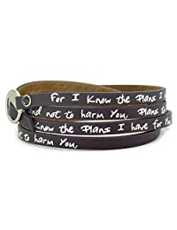 Good Works Make A Difference Leather Pebble Leather Wrap Around Scripture Bracelet - Eggplant Jeremiah 29:11