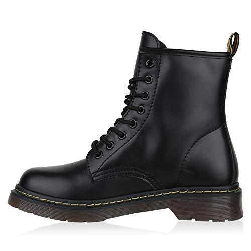 Worker Boots Damen Flandell Herren Profilsohle Total Schwarz Unisex Stiefelparadies Stiefeletten 1IqT5U5w