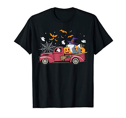 Wolf on Red Truck Pumpkin Funny Halloween Costume Gift T-Shirt