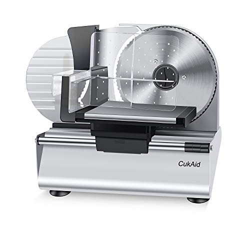 CukAid Electric Meat Slicer Machine, Deli Cheese Bread Food Slicer, Dishwasher Safe, Removable Stainless Steel Blade & Food Carriage and Pusher, 7/8 Inch Adjustable Thickness, 180W, Commercial & Home Use