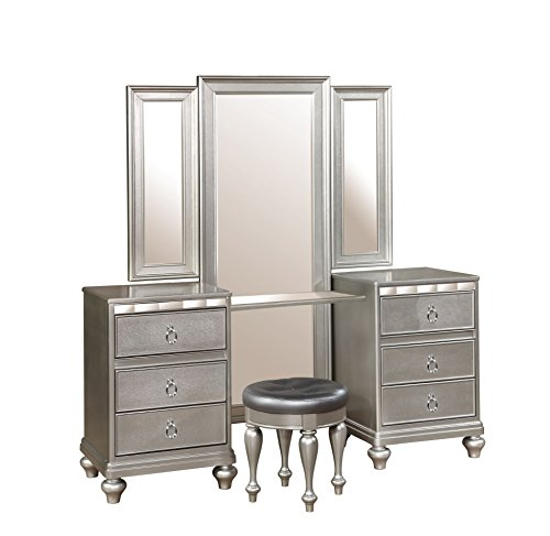 Dutchess Vanity with Tri-Fold Mirror and Stool (Table Diva Vanity)
