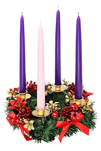 Christmas Advent Wreath -Red Berry Advent Season Centerpiece Décor - Advent Candle and X-mas Candles Decorations - Advent Calendar Season Decoration for $<!--$39.99-->