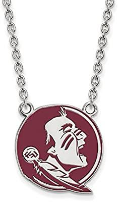 925 Sterling Silver Rhodium-plated Laser-cut Florida State University Large Pendant w//Necklace 18