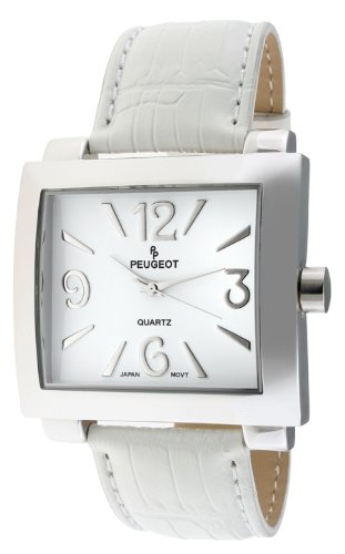 Peugeot Women's 706WT Silver-Tone White Leather Strap Watch ()