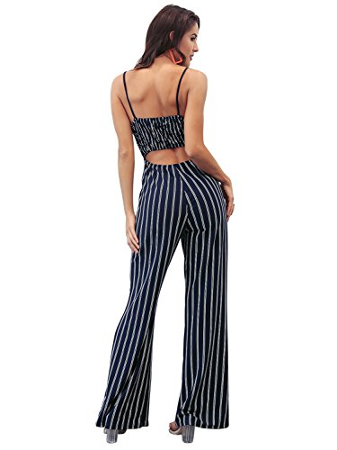 2151bca4659 Glamaker Women s Casual Strap Striped Long Pants Jumpsuit Romper Sleeveless
