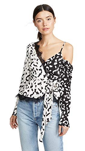 (Self Portrait Women's Leopard Printed Wrap Top, Cream/Black, 2)