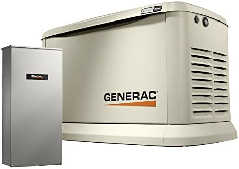 Generac 7043 Home Standby Generator 22kW 19.5kW Air Cooled with Whole House 200 Amp Transfer Switch, Aluminum