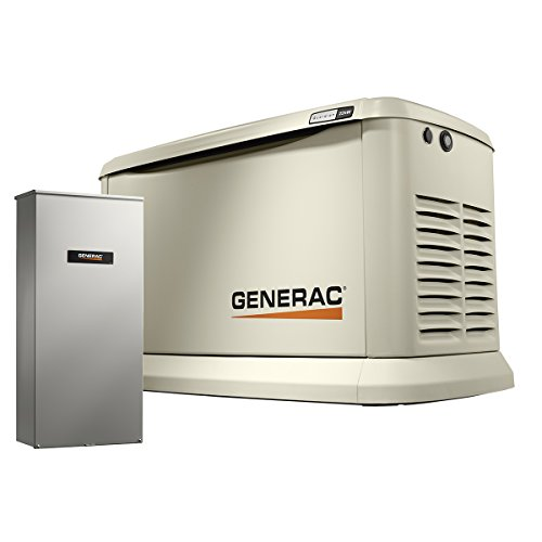 Generac 7043 Home Standby Generator 22kW/19.5kW Air Cooled with Whole House 200 Amp Transfer Switch, -