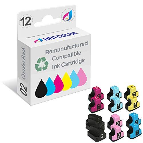 HOTCOLOR 12PK 02XL Remanufactured Replacement for HP 02XL Ink Cartridge for HP PhotoSmart D7260 D7460 D7245 D7255 D7263 D7268 D6160 D7155 Printer - Light D6160