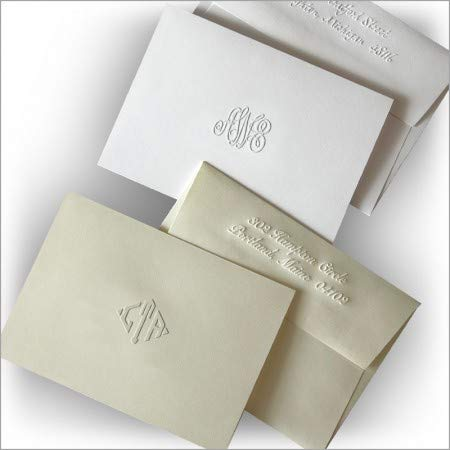 Embossed Monogram Personalized Note - DYO Embossed Notes Monogrammed - Set of 25-5452M