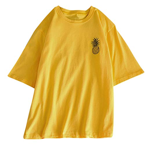 Excursion Clothing Women Round Neck Short Sleeve Graphic Tees Pineapple Embroidery Casual Loose Cute T Shirt Tops and Blouse from Excursion Clothing
