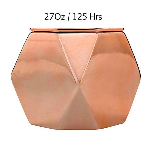 Soy Candles Jasmine and Gardenia Scented Ceramic Jar, 27 Ounce 3 Wicks, 125 Hours Large Rose Gold, Candle Gifts for Women