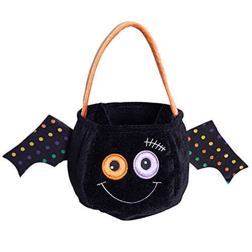 Halloween Supply Pumpkin Candy Bags, Trick or Treat Goodie Cookies Candy Baskets Bags for Kids, Sweets Gifts Party Decorations Customes Holders Linen Tote Bag with Handle, Black Bat 1 Pack]()
