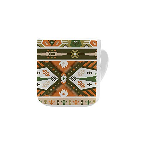(Tribal White Heart Shaped Mug,Vector Design with Tattoo Aztec Mayan Culture Style Stripes Shapes Print Decorative for Home,2.56