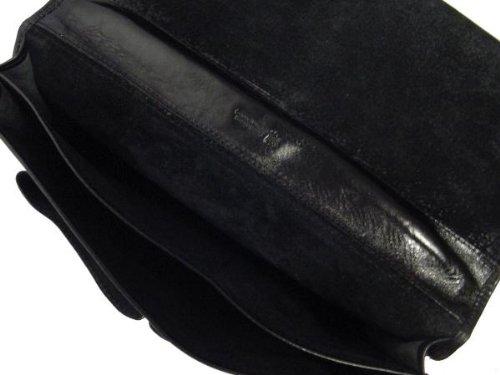 Alberto Bellucci Mens Italian Leather Comano Double Compartment Messenger Satchel Bag in Black by Alberto Bellucci (Image #4)