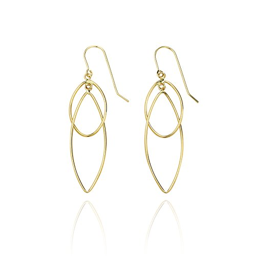 14k Yellow Gold High Polished Pointing Oval Earring with Fish Hook in Gift Box for Women and Teen Girls by SL Gold Imports