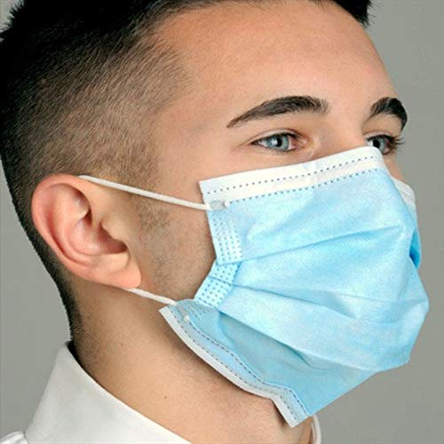 Yan Hou Tang 50 pcs 3-PLY Disposable Face Mask Protective Breathable Mouth Shield Elastic Ear Loop Comfortable Filter Safety Home Office Store School