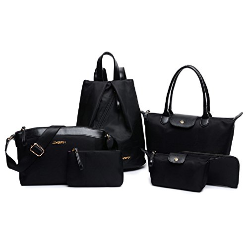 top-shop-womens-shoulder-handbag-black-tote-bags-six-pieces-set