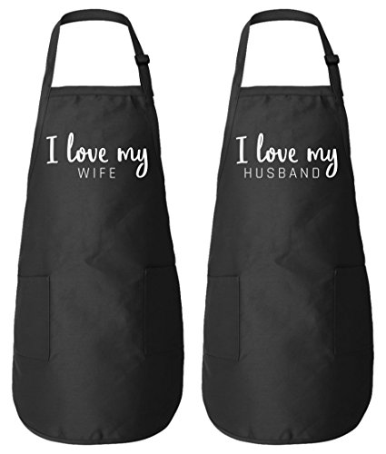 I love my Wife & Husband Matching Couple Aprons - His Her Wedding Anniversary Gifts