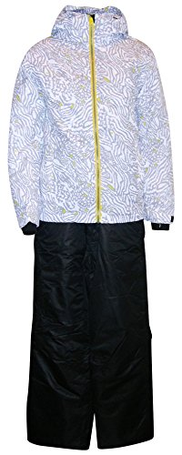 Pulse Big Girls Youth Snowsuit Set Ski Jacket and Pants Fierce (Small (7/8), White/Black) by Pulse