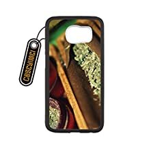 CASEYIMEI Country American Flag Marijuana Cannabis Weed Hemp Leaf Smoker Custom made Design Black Plastic and TPU Cell Phone Cases Cover for Samsung Galaxy S6 edge case