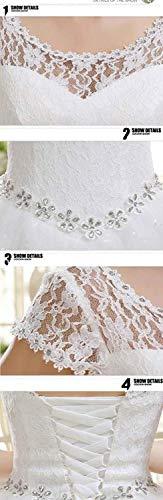 nupcial vestido de del Eyekepper vestido piso de Doble Hombro longitud encargo del boda Blanco wqxqYaB8