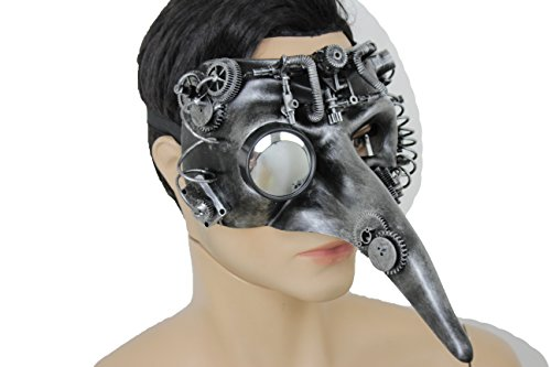Steampunk Cyborg Costume (TFJ Men Long Nose Halloween Half Face Steampunk Mask S&m Costume Scary Robot Goggles Pirate Apocalyptic Future Warrior Cyborg)