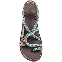 Plaka Flat Summer Sandals For Women by Turquoise Gray 9 Palm Leaf