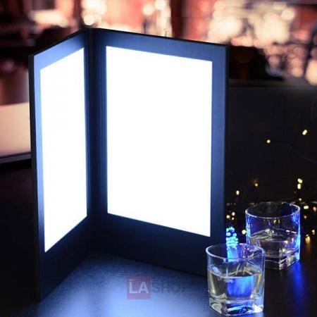 2-Panel LED Backlit Illuminated Menu Cover 8.5 x14 inches Black Leatherette Holder Check Displayer 110V for Dinner Dinning Supper Food Service Café Pub Hotel Resort Bar Bartender Lounge